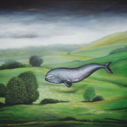 Paysage & Baleine Basque 46x55cm